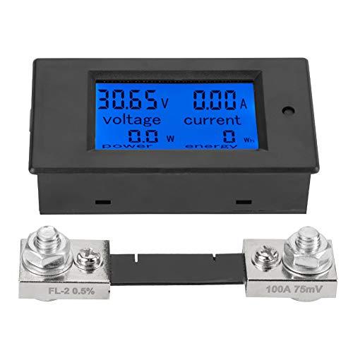 Voltímetro digital de 6,5 a 100 V CC con medidor de voltaje digital LCD, con shunt (conmutador de corriente de 100 A)