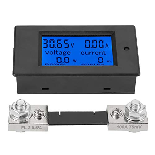 Akozon PEACEFAIR PZEM-051 LCD-Display DC 6,5-100 V Digital Electric Power Energy Spannung Stromzähler Power Energy Battery Monitor Stromstärke Meteranzeige mit integriertem Shunt(100A Splitter)