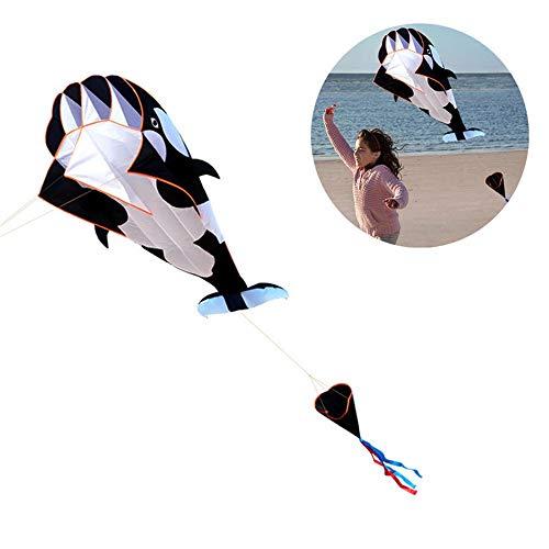 Zxllyntop Enorme Arco Iris de la Cometa por niños y Adultos Línea única Cometas al Aire Libre 3D Software Ballena Cometa Animal de la Historieta con la manija (Color : Negro, tamaño : Un tamaño)