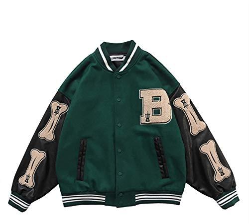 HSY SHOP Chaqueta de Pareja Unisex Chaqueta de béisbol Chaqueta universitaria Chaqueta universitaria Chaqueta de Abrigo (Color : Green, Size : L)