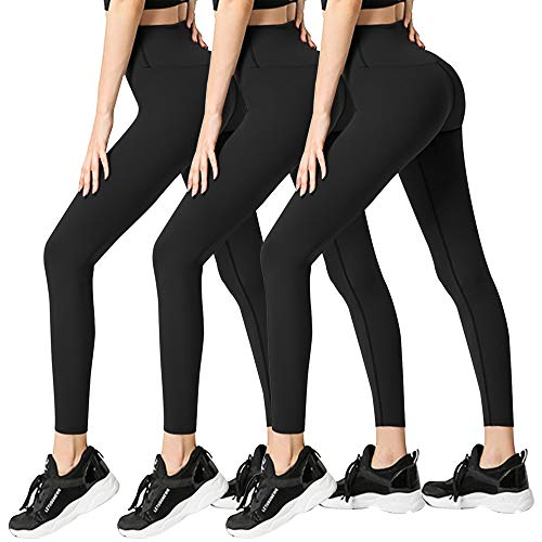 3 Pack Womens Leggings-No See-Through High Waisted Tummy Control Yoga Pants Workout Running Legging-Reg&Plus Size (3 Pack Black,Black,Black, Large-X-Large)