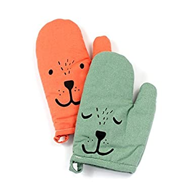 Yizi Zakka Cotton Oven Mitts, Cute Smiling Face, Heat Resistant Potholders, Oven Gloves for Cooking, Baking, Microwave, 1 Pair (1 Green and 1 Orange)
