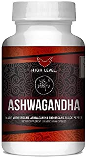 Organic Ashwagandha with Organic Black Pepper | High Level | 60 Vegetarian Capsules for Capsules for Relieving Stress, Anx...
