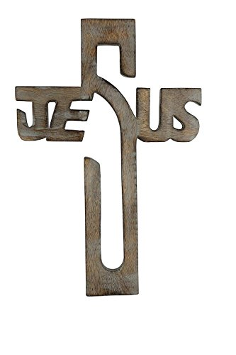 storeindya Hölzernes Wand-Kreuz rustikales Keltisches Jesus Kreuz christliches katholisches religiöses, Wooden Wall Cross zum Ihres Altars zu schmieren Gebranntes Endwanddekor das Geschenke wärmt