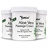 Jasmine Aloe Massage Cream for Face and Body, Anti-Aging Therapy Cream, Moisturizing and Nutritious for Fresh and Soft Skin, Soothing for Sunburns, Organic Aloe Extract [400g / 3 PK]
