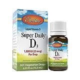 Carlson - Super Daily D3, Vitamin D Drops, 1,000 IU (25 mcg) per Drop, 1-Year Supply, Vitamin D3 Liquid, Heart & Immune Health, Vegetarian, Liquid Vitamin D3 Drops, Unflavored, 365 Drops