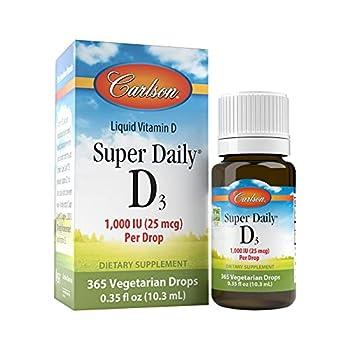 Carlson - Super Daily D3 Vitamin D Drops 1,000 IU  25 mcg  per Drop 1-Year Supply Vitamin D3 Liquid Heart & Immune Health Vegetarian Liquid Vitamin D3 Drops Unflavored 365 Drops