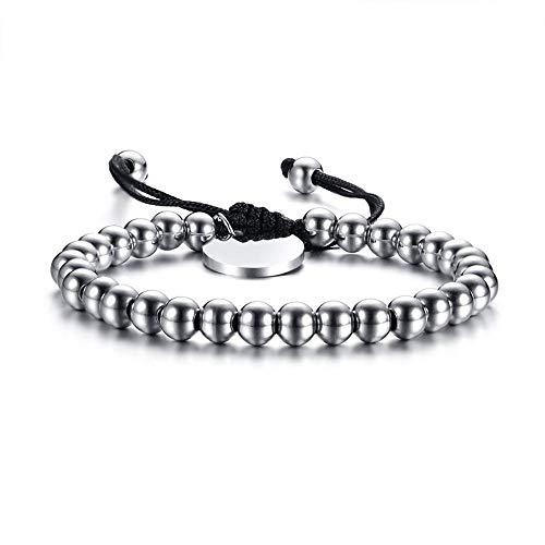 Fgutu Armband,Herren Armbänder Männer Hand Ornamente 15 8cm kleine Runde Marke Stahl Kugel Seil verstellbare Hand Seil,Das Armband der Liebe