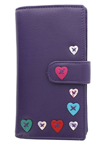Mala Leather Lucy Collection Leather Purse with Tab Closure 3184_30 Purple