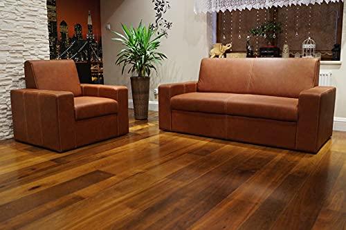 Juego de sofás de piel auténtica Antalya I extra de 2,5 + 2 plazas + sillones de piel auténtica, color coñac