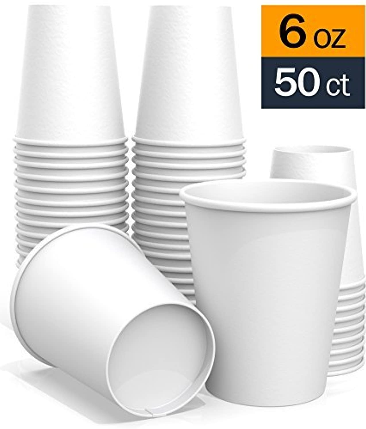 6 oz All-Purpose White Paper Cups (50 ct) - hot Beverage Cup for Coffee Tea Water and cold Drinks - ideal Bath Cup kzgh7634875