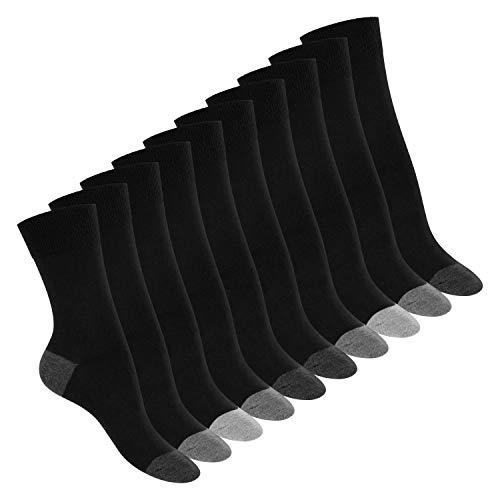 Footstar 10 Paar Baumwoll-Socken - abgesetzte Ferse und Spitze - Classic Grey 39-42