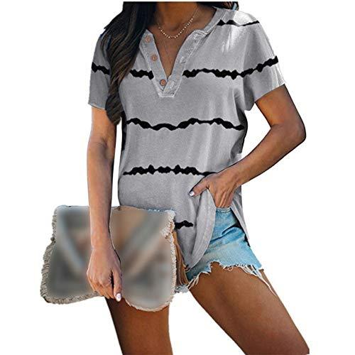 Camiseta Abotonada con Cuello En V Y Manga Corta con Estampado De Rayas Y Top Suelto para Mujer