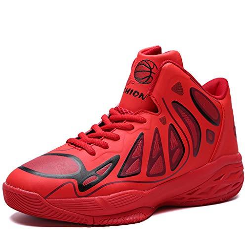 FLOWUNDER Männer Sports rutschfeste Basketballschuhe Leichte Atmungsaktive Sneaker Fashion Trainer Schuhe Hochleistungs-Stoßdämpfung,Rot,40