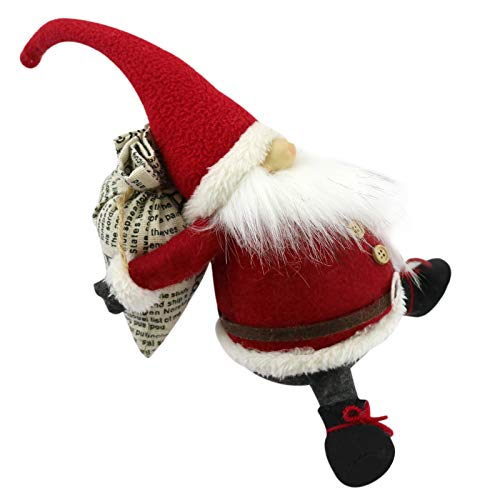 Christmas Handmade Gnome Decorations Tomte Swedish Gnome with Bag Scandinavian Nisse Santa Figurines Plush Elf for Holiday Presents Home Decor Doll Thanks Giving Gifts (red)