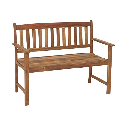 greemotion Banc de jardin en bois Borkum - Banc bois extérieur pour 2 personnes – Banc design pour le jardin – Mobilier de jardin en bois d'acacia durable et robuste – mobilier extérieur