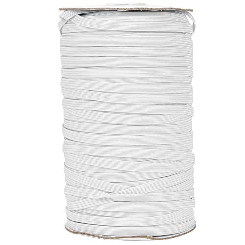 Elastische spoel, 200 meter 6 mm breedte Briaded elastische band Elastisch koord voor doe-het-zelfkleding Kleding Tailleband Sprei Manchet(Wit)