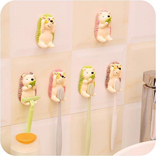 BrilliantDay Pack de 4 montado en la Pared para niños o Adultos Cepillo de Dientes Titulares. Diseños Mezclados/Colores