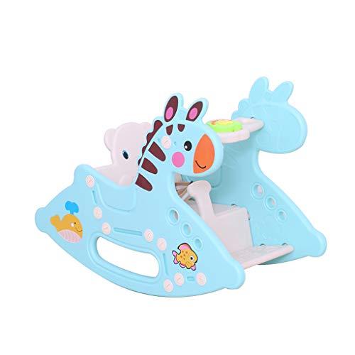 Trojan Cheval à Bascule pour Enfants Jouet Bébé Cheval à Bascule en Plastique Grand Épaissir Bébé 1-2 Ans Transport de Musique (Couleur : Bleu)