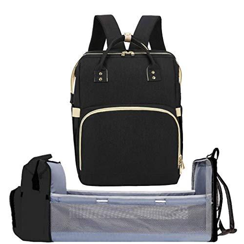 HKD Multifuncional Mochila for Momia Bolsa de pañales portátil Bolsa de Viaje Plegable Cuna de Viaje 3 en 1 Impermeable Estación de Cambio de Pañales (Color : Black)