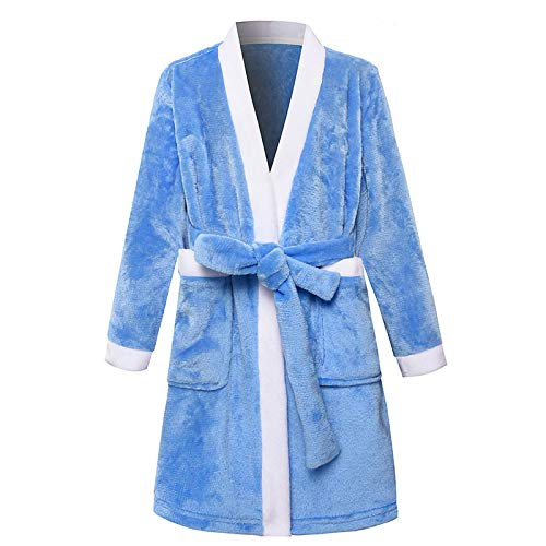LEYUANA Albornoces para niños, para niños Ropa de Dormir Batas de Franela para bebés Pijamas para niñas Ropa para Adolescentes Pijamas Ropa de Dormir para niños Bata Ropa para el hogar 6-7T-140 Azul