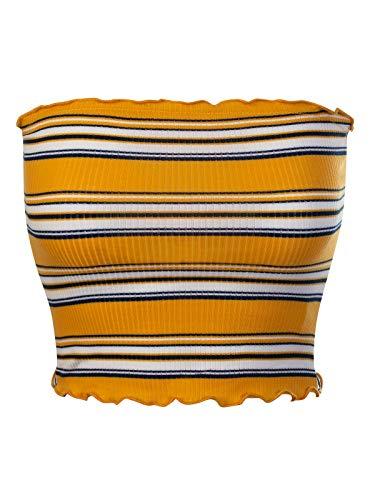MixMatchy Women's Striped Print Ruffled Edge Ribbed Knit Crop Tube Top Mustard M