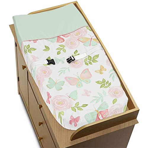 Sweet Jojo Designs Blush Pink, Mint and White Watercolor Rose Changing Pad Cover for Butterfly Floral Collection