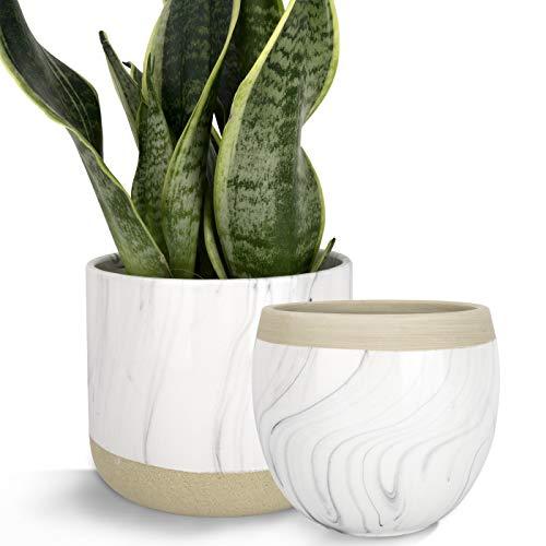 LA JOLIE MUSE Macetas Ceramica Blanco, maceteros Interior y Exterior, patrón de Tinta de mármol Pintado a Mano, macetas para suculentas, 16.5cm, Set 2