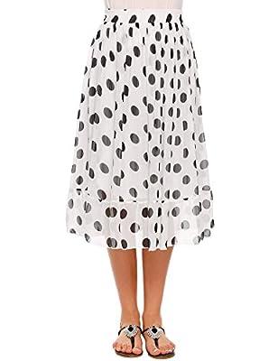 Women's Chiffon Polka Dot Print Flared A-Line Skirt High Elastic Waist Ruffle Hem Midi Skirts