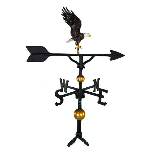 Montague Metal Products 32-Inch Deluxe Weathervane with Color Full Bodied Eagle Ornament