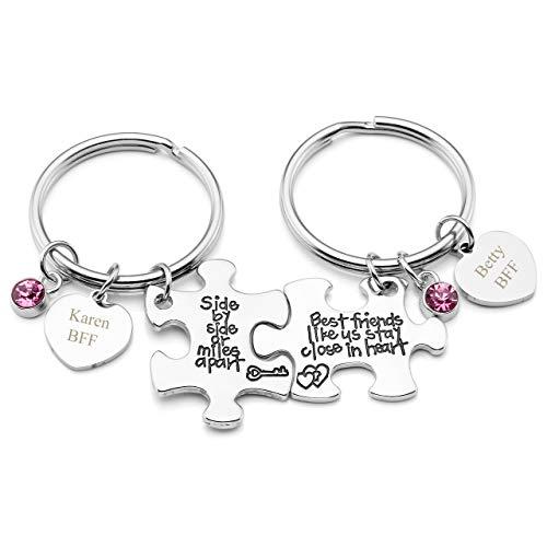 JOVIVI Gratis Kundenspezifische Gravur - Personalized Puzzle Schlüsselanhänger mit Herz Scheibe Freundschafts für 2 Geschenke