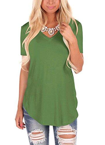 Fliegend Damen Kurzarm T Shirt Oversize Oberteil V Ausschnitt Tops Casual Sommer Bluse Lockere Shirts Super Weich Bequem Grün L