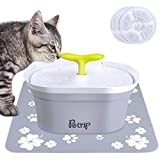 PETRIP Pet Water Fountain, 94oz/2.8L Automatic Cat Water Fountain Dog Water Bowl Dispenser for Cats/Dogs/Multiple Pets with 3 Replacement Filters,1 Silent Pump,1 Silicone Mat,1 LED Lights