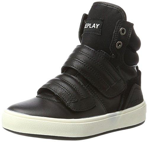 Replay Jungen U2 Hohe Sneaker, Schwarz (Black), 39 EU