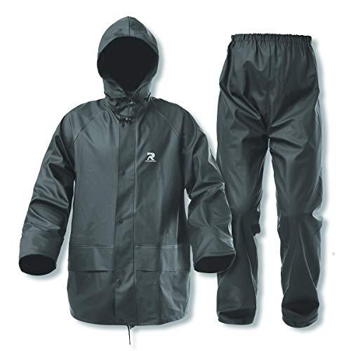 Regenanzüge für Herren und Damen, wasserdicht, strapazierfähig, Arbeitskleidung, 3-teilig, Regenmantel und Hose (dunkelgrün, mittel)