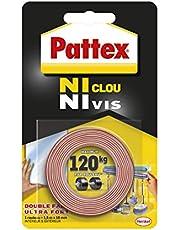 Pattex Ni Clou Ni Vis Double Face 19 mm x 1,5 m, Ruban adhésif double face ultra résistant pour fixation permanente, Adhésif de montage pour intérieur & extérieur