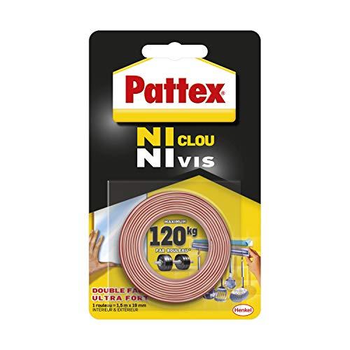 Pattex Ni Clou Ni Vis Double Face, Ruban adhésif double face ultra résistant pour fixation permanente, Adhésif de montage pour intérieur & extérieur, 19 mm x 1,5 m