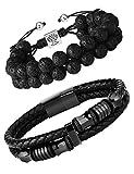 FIBO STEEL 2 Pcs Mens Leather Cuff Bracelet Lava Rock Bead Bracelets Set Cool Wrist Jewelry