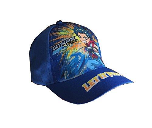 Beyblade Burst Baseball Cap, Kappe Cappy für Kinder, Jungen und Mädchen in Rot/Blau (54, Blau)