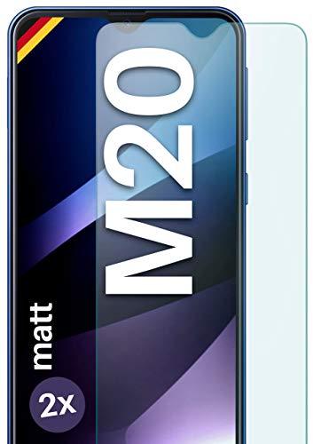 moex Panzerglas kompatibel mit Samsung Galaxy M20 - Panzerfolie Matt aus Glas, Anti Reflex Displayschutz Kratzfest, Matte 9H Schutzfolie, 2X Stück