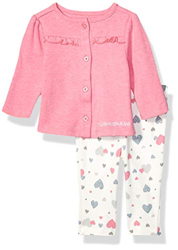 Calvin Klein Baby Girls 2 Pieces Cardigan Pants Set, Rose/Print, 3-6 Months