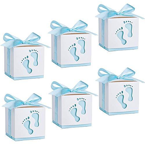 50 Stück Süßigkeit Kästen Gastgeschenk Box,Neugeborene Baby Taufe Box,Geschenkbox,ideal als stilvolles Gastgeschenk zur Taufe, Babyparty, Baby Shower und Kindergeburtstag Eines Jungen (Blau)