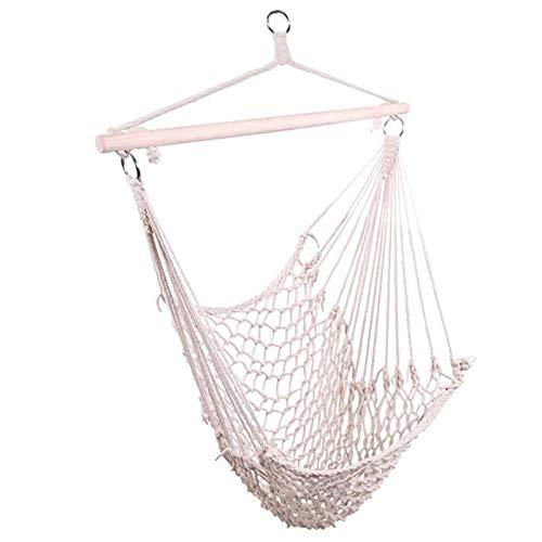 Hanging Rope Hammock Chair Swing Seat, Max 300 lbs, for Indoor Outdoor Bedroom Patio Porch Garden Yard, Beige