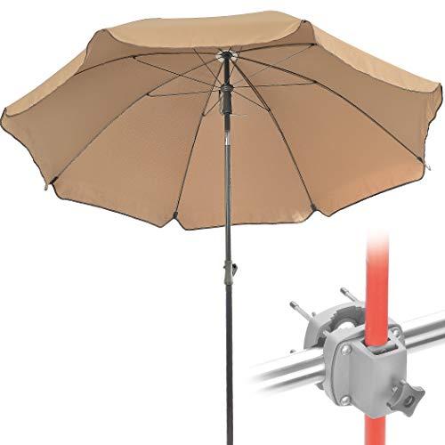 4smile Sonnenschirm Balkon + Schirmständer Sonnenschirm Set – Schatten und Sonnenschutz für Balkone – Komplett-Set aus Sonnenschirm rund mit Sonnenschirmhalter Balkongeländer