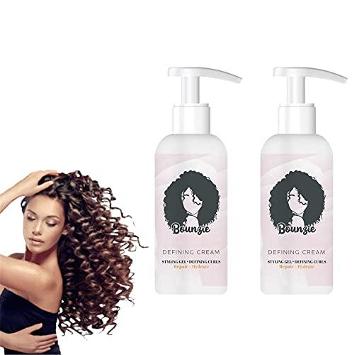 Bounziecurls Boost Defining Cream, Curl Hair Boost Defining Cream Hair Repairing Bounce, Curls Boost Defining Cream Haarpflege Elastin, Curly Hair Moisturizing Styling Cream (2PCS)