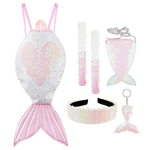 Mermaid Reversible Sequin Drawstring Backpack for Kids Girls with Slap Bracelet &Purses & Headband & Keychain Set (Tail Colorful Pink &White)