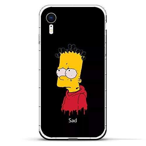 Clear Silicone TPU Matte Anti-Shock Coque Cover Case for Apple iPhone XR-Funny-Bart Homer-Simpson Black 6