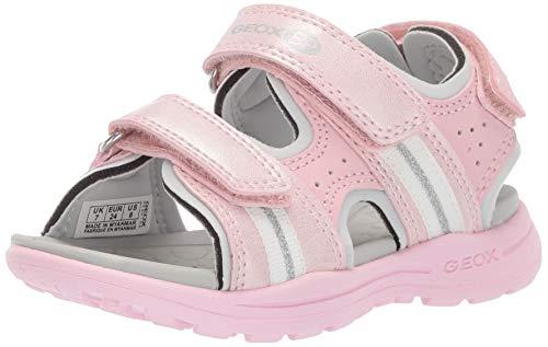 Geox VANIETT Girl J926AB Mädchen Trekking Sandalen,Kinder Outdoor-Sandale,Sport-Sandale,Aussensteg,3-Fach Klett,LT PINK/White,26
