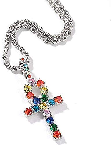 Necklace Rainbow Mix-Colored Cross Charm Necklace Paved Iced Out Cubic Zirconia Chain Women Hiphop Jewelry Pendants for Women Men Gifts Pendant Necklace Gift for Women Men Girls