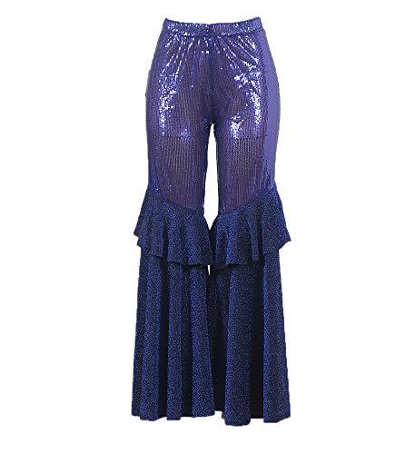 Pantaloni a Zampa d'elefante con Paillettes con Cuciture in Volant da Donna alla Moda
